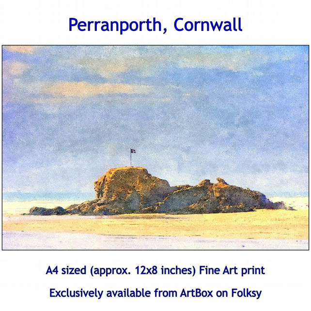 The Beach At Perranporth, Cornwall  - Quality Fine Art Print