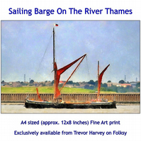 Sailing Barge On The River Thames - Quality Fine Art Giclee Print