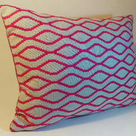 Stunning rectangular embroidered cushion cover