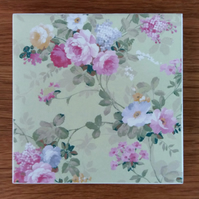Pale Green and Pink Roses Floral Patterned Ceramic Wall Tile