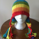 RAINBOW stripey festival trapper hat with bells