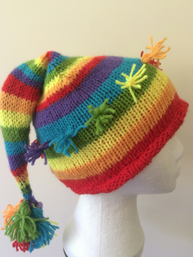 Rainbow stripey pixie hat
