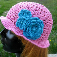 Lovely and comfortable hand knitted pink sun hat