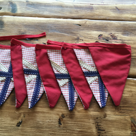 Luxury double sided fabric bunting- vintage style red, white and blue union jack