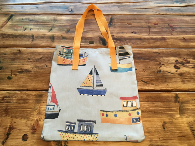 Fabric shopper bag - boats on blue