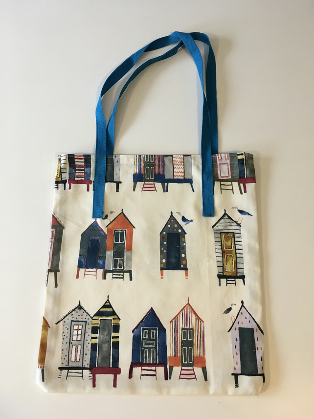 Fabric shopper bag - vintage beach huts on  natural