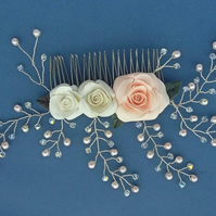 Bridal Pastel Pink & White Flowered Hair Comb