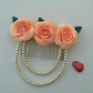 Peach Rose Hair Comb with Swarovski Crystal Pearls