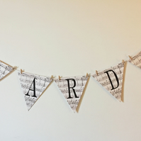 Vintage Music Style Wedding Bunting Spelling Out CARDS with mini wooden pegs