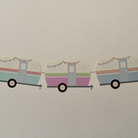 Retro Caravan Style Ideal For Home Or Caravan 5 Individual Card Caravans 60""