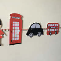 London Themed Bunting Featuring Soldiers ideal for nursery or party decoration