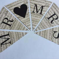 Vintage Music Style Wedding Bunting Spelling Out MR & MRS with mini pegs