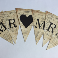 Vintage French Style Wedding Bunting Spelling Out MR & MRS Card Flags with pegs