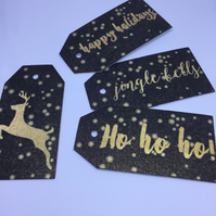 Black Gold printed Christmas Gift Tags featuring stags, Merry Christmas, HoHoHo