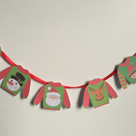 Ugly Christmas Jumper Bunting 7 individual mini sweaters on red ribbon