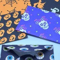 Halloween Mini Envelopes design pack of 5 handmade spiders eyeballs day of dead