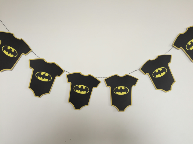 Batman Themed Baby Shower Bunting Available Yellow, Pink or Blue Trim
