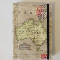 Australia Travel Map Journal Soft Cover A5 Hand Made Blank