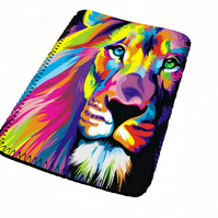 Bright vivid colourful lion kindle & e reader soft sleeve for all kindle models