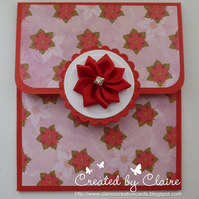 HANDCRAFTED POINSETTA GIFT CARD HOLDER