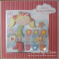 HANDCRAFTED FEMALE BIRTHDAY CARD - WATERING THE GARDEN