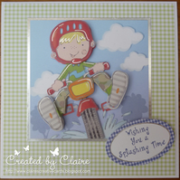 HANDCRAFTED MALE BIRTHDAY CARD - RIDING MY MOTORBIKE