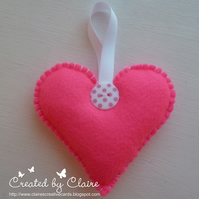 HANDCRAFTED BRIGHT PINK FELT HEART HANGING  DECORATION