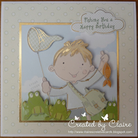HANDCRAFTED MALE BIRTHDAY CARD - FISHING