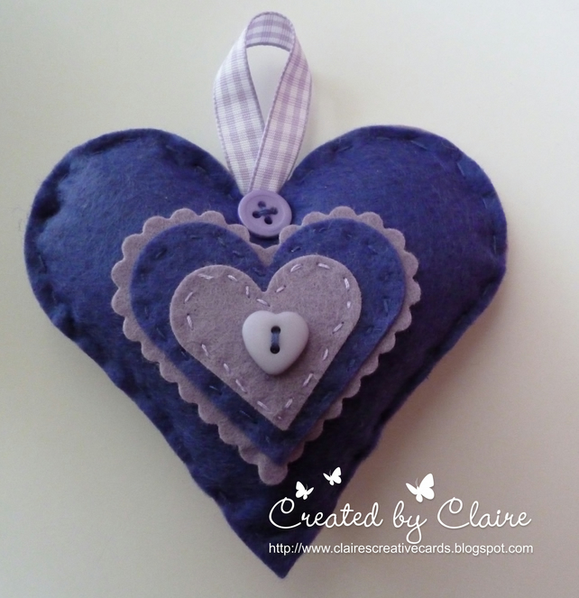 HANDMADE PURPLE FELT HEART HANGING DECORATION