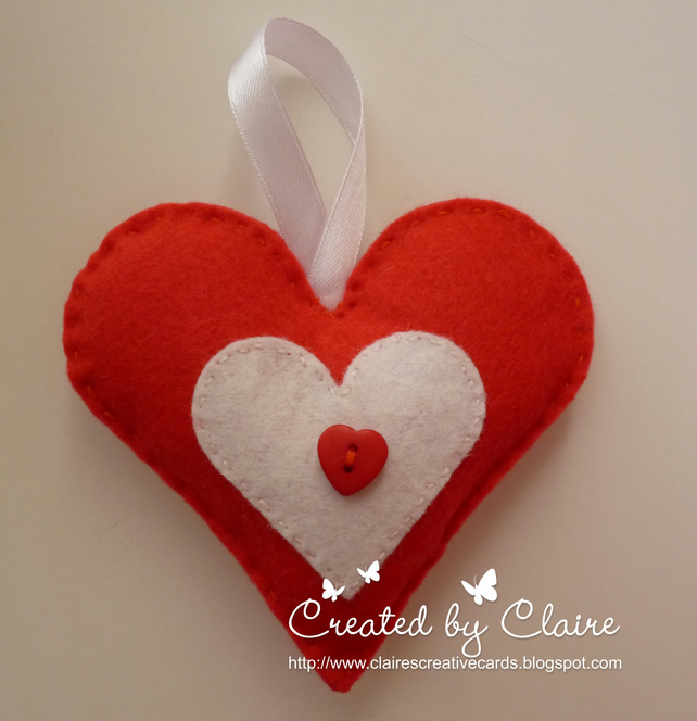 HANDMADE RED FELT HEART HANGING DECORATION