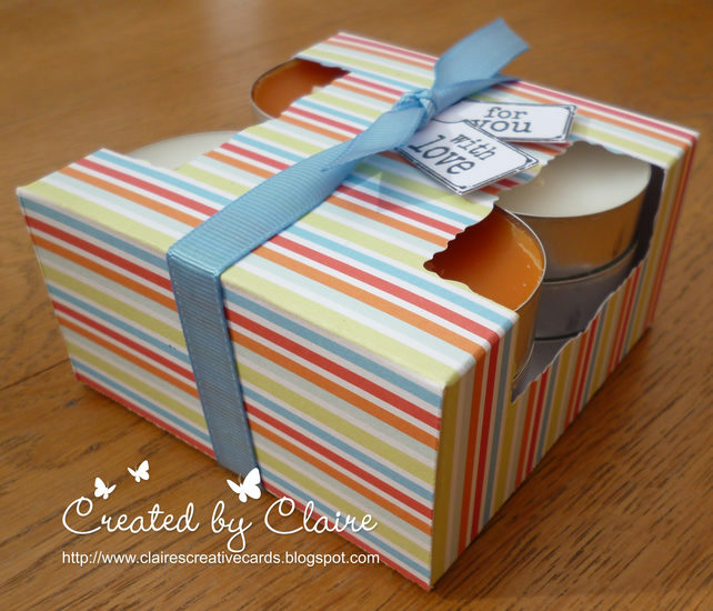 HANDCRAFTED STRIPED TEA LIGHT HOLDER BOX AND CANDLES