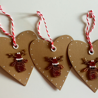 PACK OF 3 HEART SHAPED BEADED REINDEER CHRISTMAS TAGS