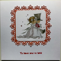 CUTE CLEAN AND SIMPLE HANDMADE WEDDING CARD