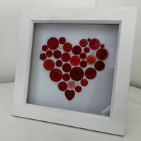 HANDCRAFTED RED BUTTON HEART WHITE WINDOW BOX FRAME