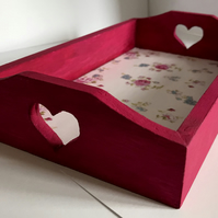 HANDCRAFTED FUCHSIA PINK WOODEN HEART STORAGE TRAY