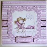 HANDCRAFTED KEEP IN TOUCH CARD - PINK TONES