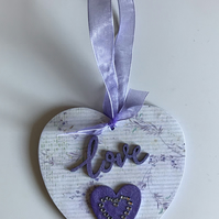 HANDCRAFTED MDF PURPLE LOVE HEART