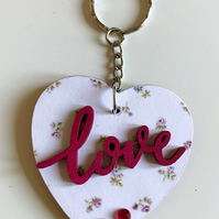 PRETTY HANDCRAFTED MDF LOVE HEART KEYRING