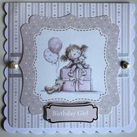 HANDCRAFTED FEMALE BIRTHDAY CARD - BIRTHDAY GIRL