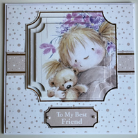 HANDCRAFTED FEMALE BIRTHDAY CARD - BEST FRIEND