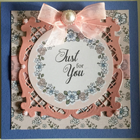 HANDCRAFTED FEMALE BIRTHDAY CARD -  PINK & BLUE FLORAL