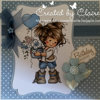HANDCRAFTED FEMALE BIRTHDAY CARD -  BLUE SPOT