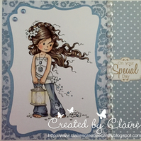 HANDCRAFTED FEMALE BIRTHDAY CARD -  BLUE FLORAL SPOT