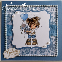 HANDCRAFTED THINKING OF YOU CARD -  BLUE FLORAL