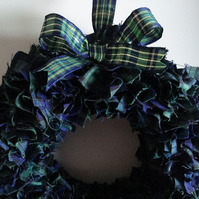 SCANDINAVIAN STYLE BLUE & GREEN TARTAN FABRIC CHRISTMAS WREATH
