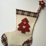 HANDCRAFTED CREAM FELT CHRISTMAS STOCKING DECORATION