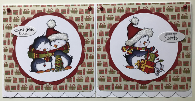 PACK OF 2 CUTE PENGUIN CHRISTMAS CARDS & GIFT TAG