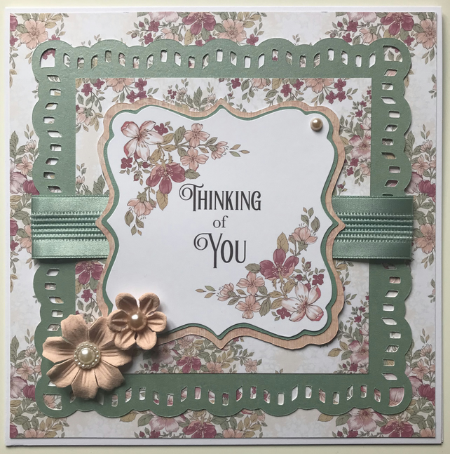HANDCRAFTED  FLORAL THINKING OF YOU CARD