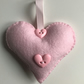 HANDMADE PALE PINK FELT HEART HANGING DECORATION