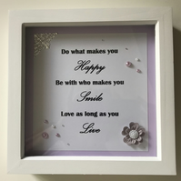 HANDCRAFTED LIFE QUOTE WHITE WINDOW BOX FRAME